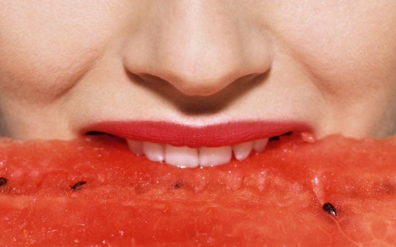 WATERMELON melon fruit red bokeh lips babe wallpaper