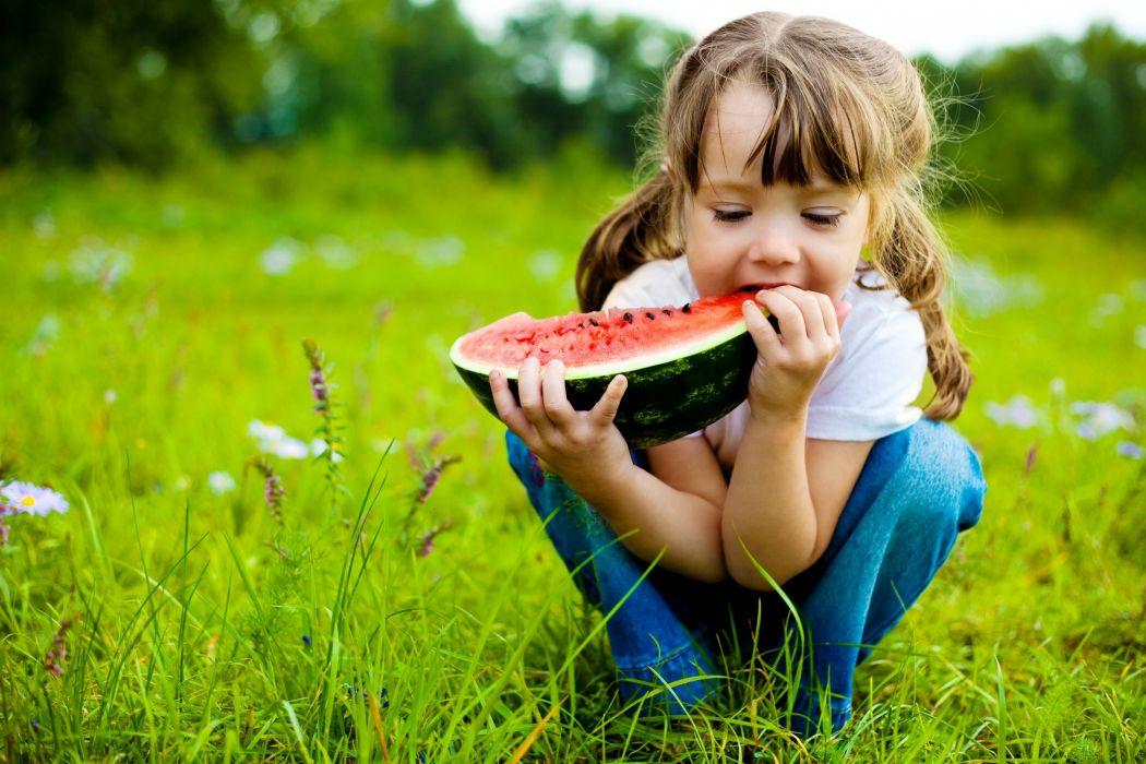 WATERMELON melon fruit red bokeh baby child cute girl children wallpaper