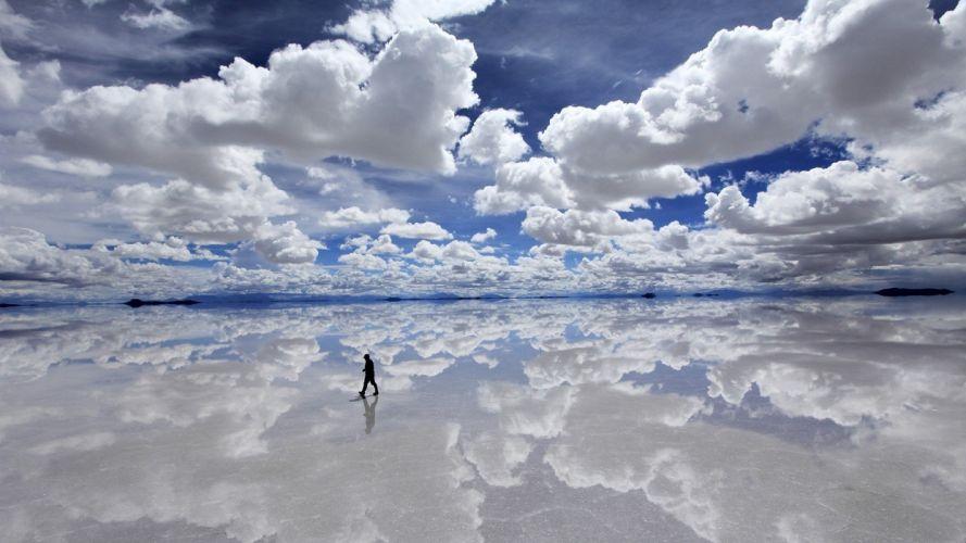 clouds bolivia bright reflections sillhou wallpaper