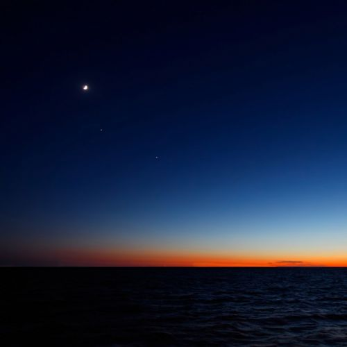 Nightfall Skyline sunset blue sky red sun moon wallpaper