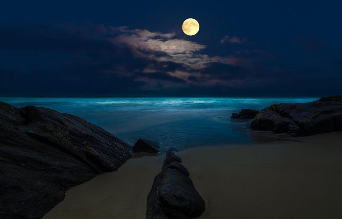 Beach Moon Sea Rocks Night Wallpaper