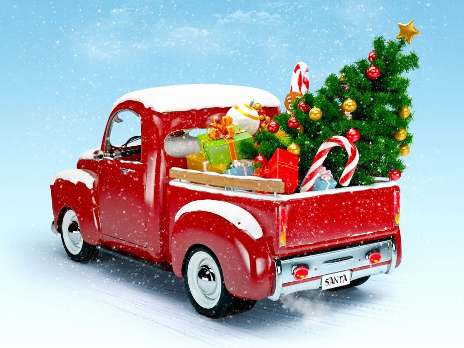 christmas new year van truck sut red snow tree lovely wallpaper