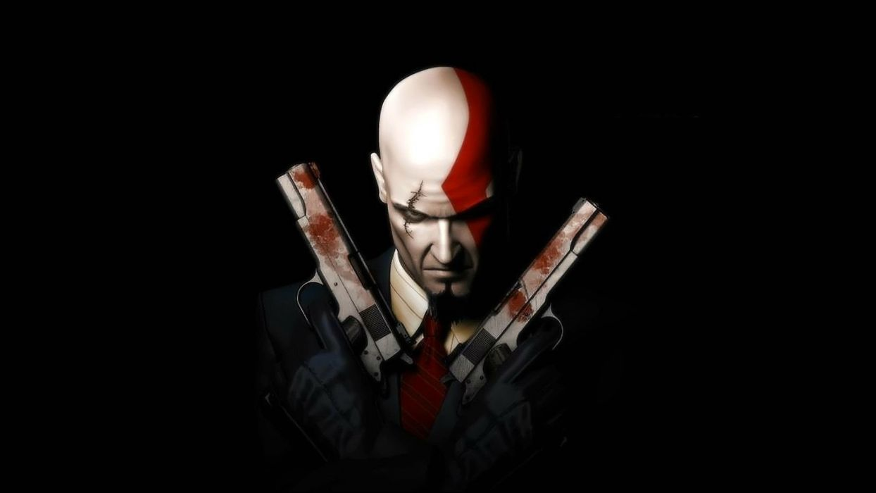 HITMAN thriller action assassin crime drama spy stealth assassins weapon gun pistol blood dark wallpaper