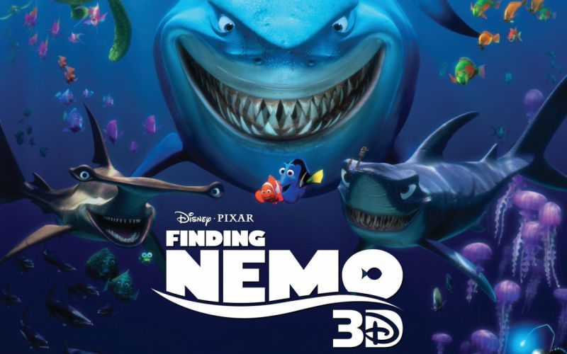FINDING NEMO animation underwater sea ocean tropical fish adventure family comedy drama disney 1finding-nemo shark wallpaper