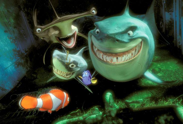 FINDING NEMO animation underwater sea ocean tropical fish adventure family comedy drama disney 1finding-nemo shark wallpaper