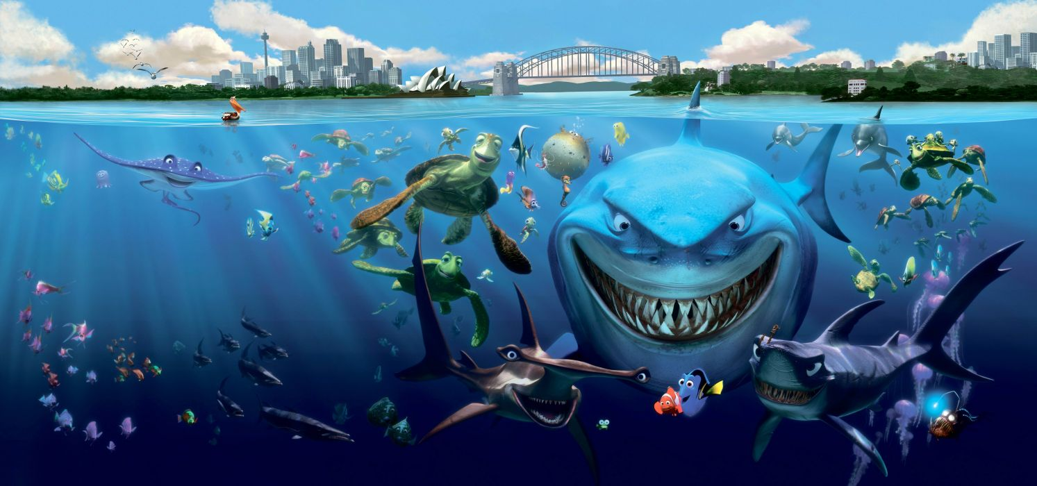 FINDING NEMO animation underwater sea ocean tropical fish adventure family comedy drama disney 1finding-nemo shark turtle wallpaper
