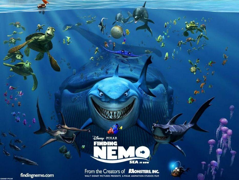 FINDING NEMO animation underwater sea ocean tropical fish adventure family comedy drama disney 1finding-nemo shark turtle wallpaper