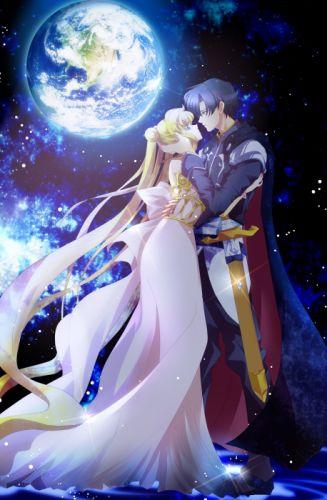 sailor moon anime girl male blonde series kiss love romance wallpaper