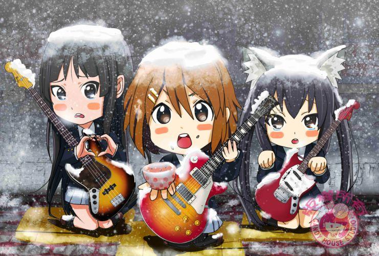 anime series k-on girls music snow cute wallpaper