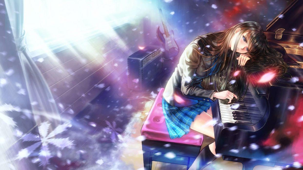 anime girl piano black hair-blue eyes-guitar-instrument-kneehighs-long hair-mori no kuma-san-petals-piano-seifuku-skirt-touma kazusa-white album-white album 2 wallpaper