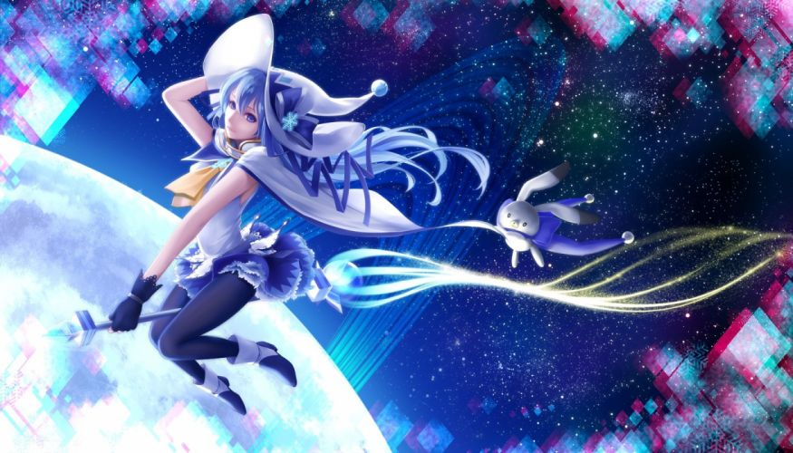 blue eyes-blue hair-bon nob-boots-bunny-gloves-hat-hatsune miku-long hair-pantyhose-skirt-stars-vocaloid-witch hat wallpaper