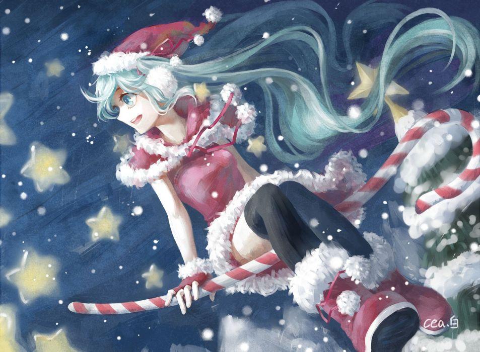 aqua eyes-aqua hair-candy-christmas-hat-hatsune miku-long hair-neeta-night-snow-stars-thighhighs-tree-vocaloid wallpaper
