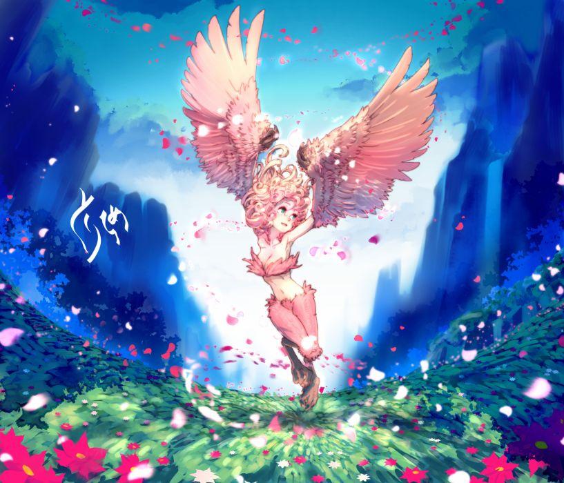 monster girl anime flower wings wallpaper