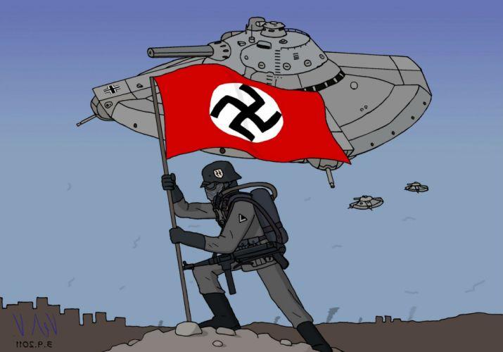 IRON SKY action comedy sci-fi nazi war comics futuristic cgi disney military horror 1ironsky apocalyptic fantasy dark space spaceship flag wallpaper
