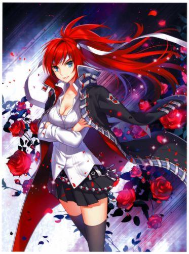 cleavage rose anime girl nardack wallpaper