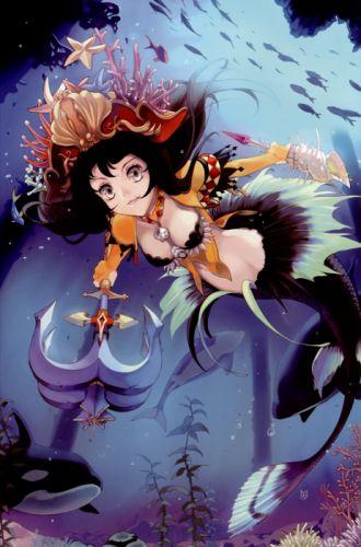 cleavage anime water mermaid wallpaper