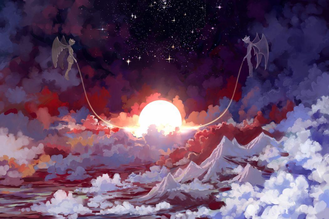 sky clouds angel sun anime wallpaper