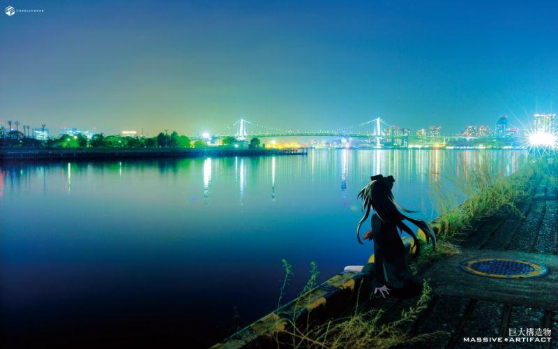 anime girl sea city light alone blue long hair wallpaper