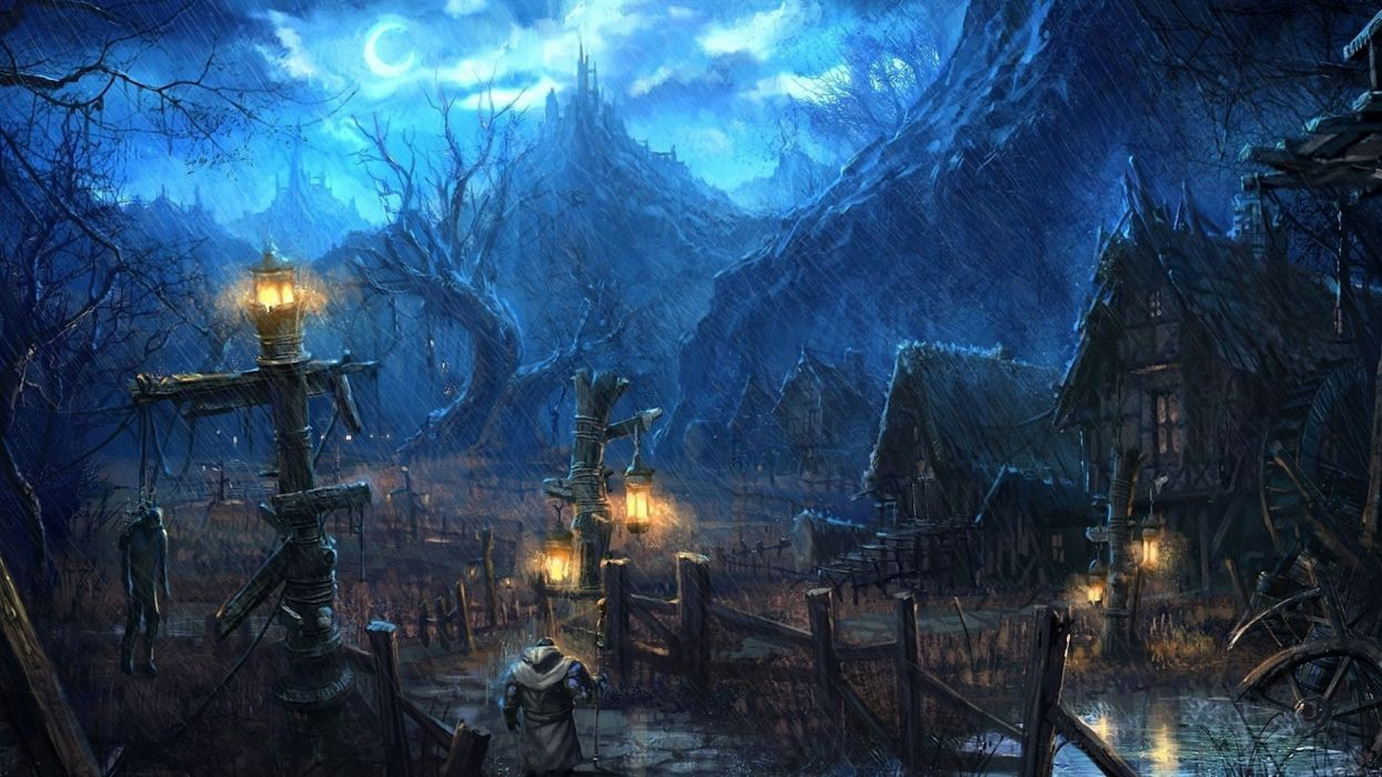 Village spooky art wallpaper