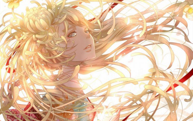 art blonde anime girl beautiful flower wallpaper