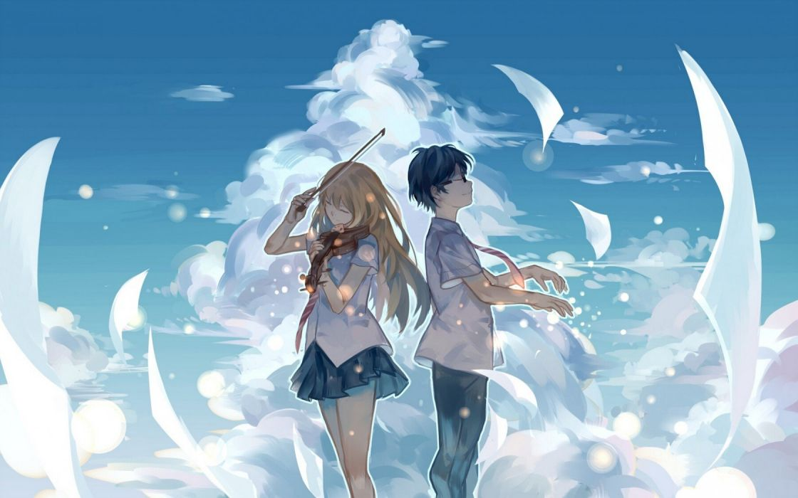 Art Violin Anime Sky Couple Notes Music Wallpaper