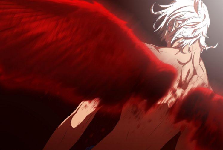 art anime male wings red blood angel wallpaper