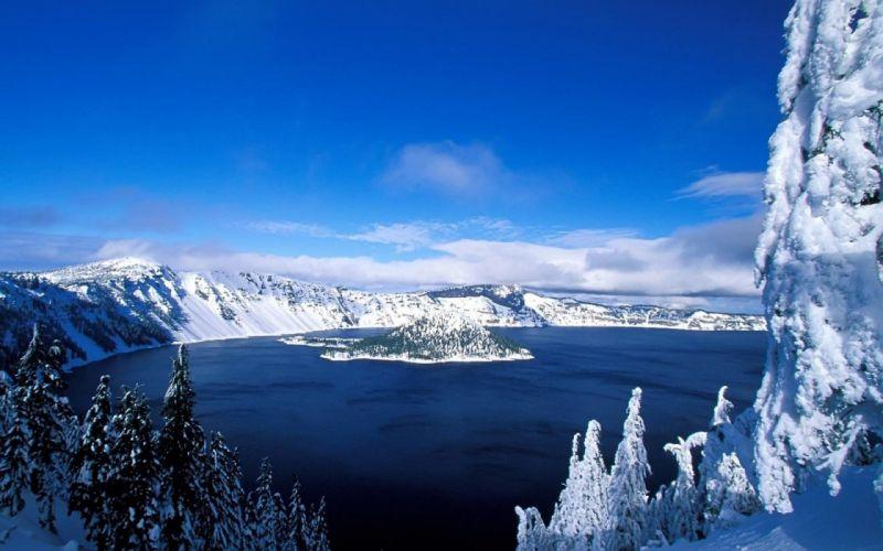 lake snow trees wallpaper