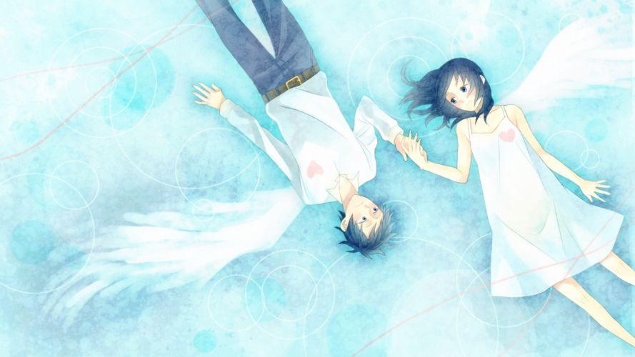Art momoiro oji girl boy wings love heart hearts wallpaper