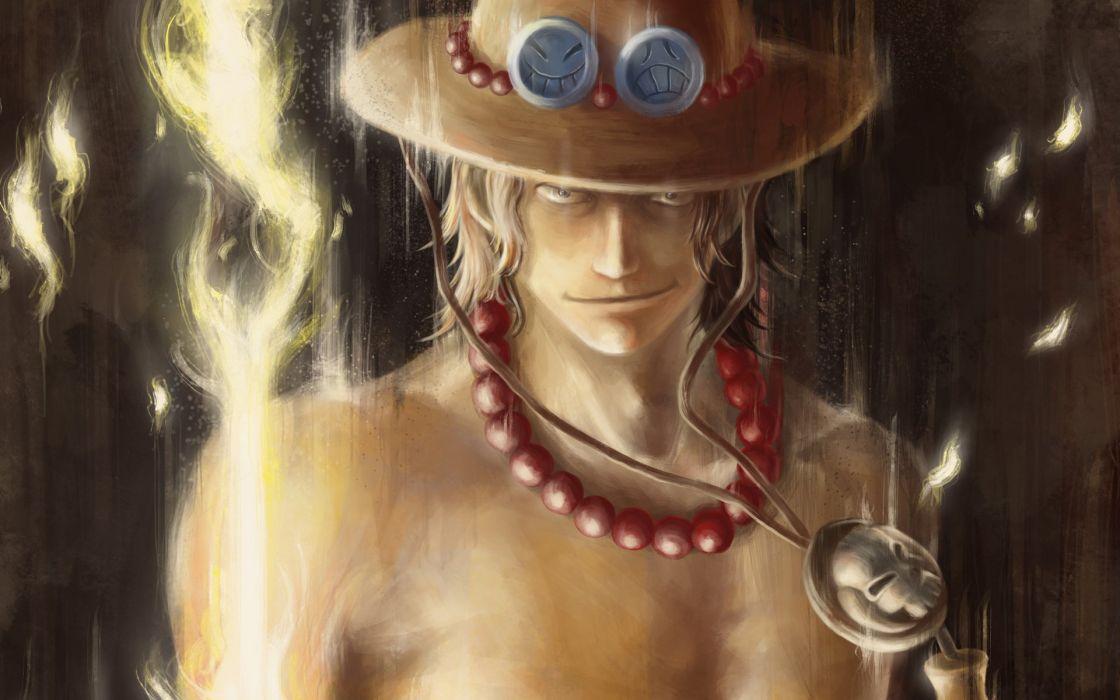 Art One Piece Portgas D Ace boy fire beads hat smiles wallpaper