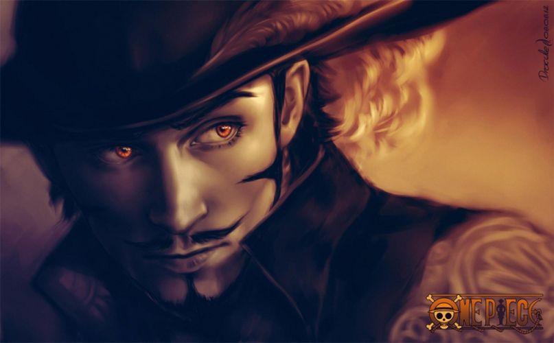 one piece dracule mihawk eyes hat pen man wallpaper