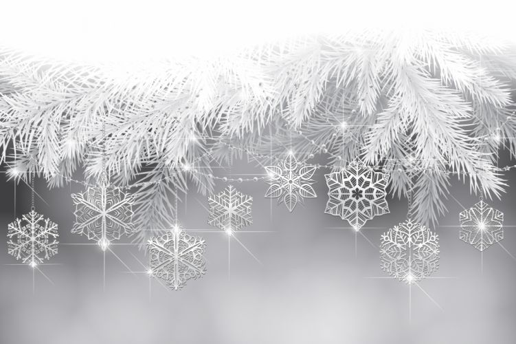 New Year holiday snowflakes tree branches wallpaper