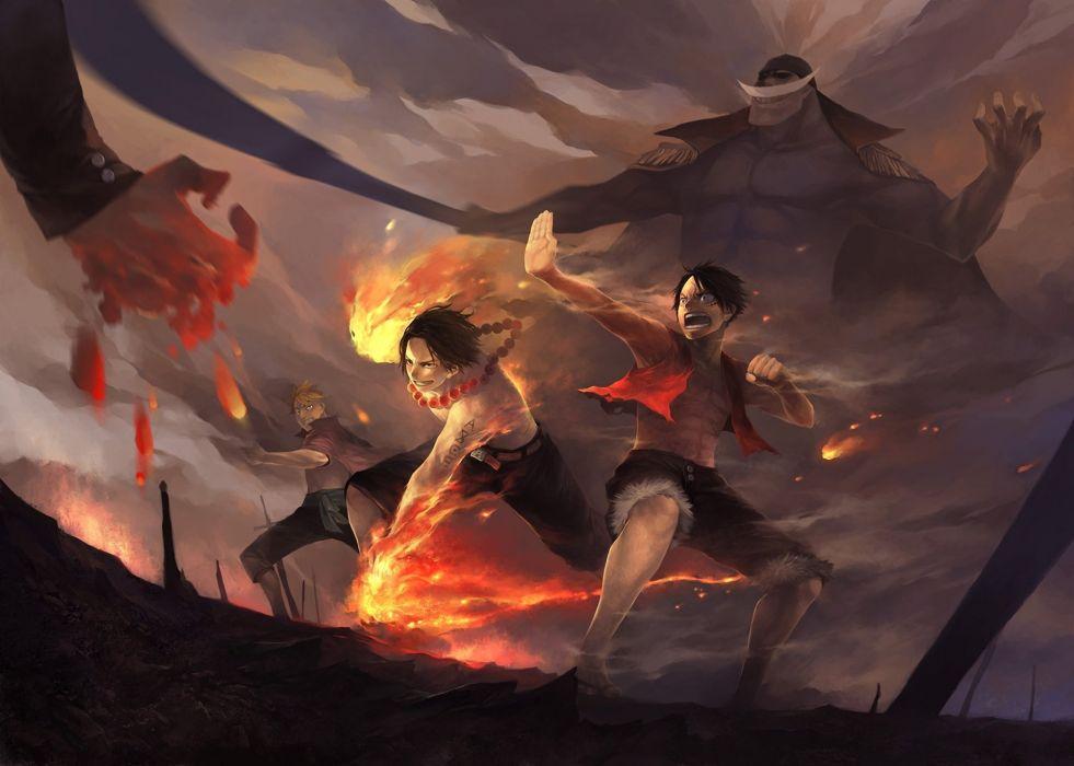 one piece battle fire art wallpaper