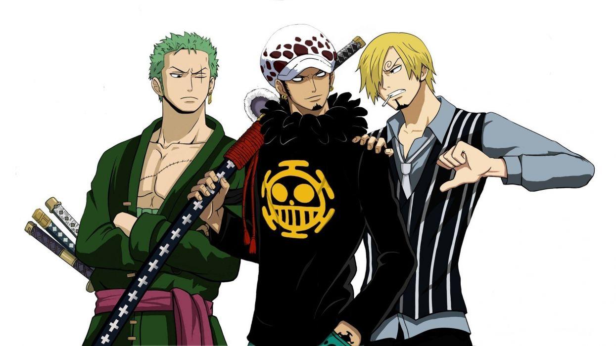 One Piece by yochiru Trafalgar law Roronoa Zoro Sanji sword katana Shichibukai anime manga game captain pirate Heart Pirates Akuma no Mi  wallpaper