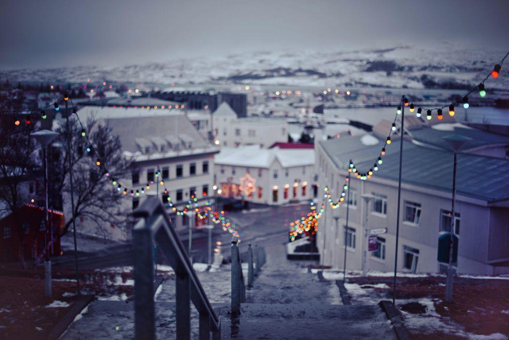 nature winter city christmas bokeh new year wallpaper