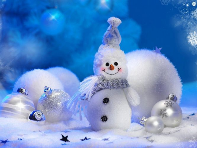 Snowman toys balls celebration new year winter snowflakes Christmas tree wallpaper