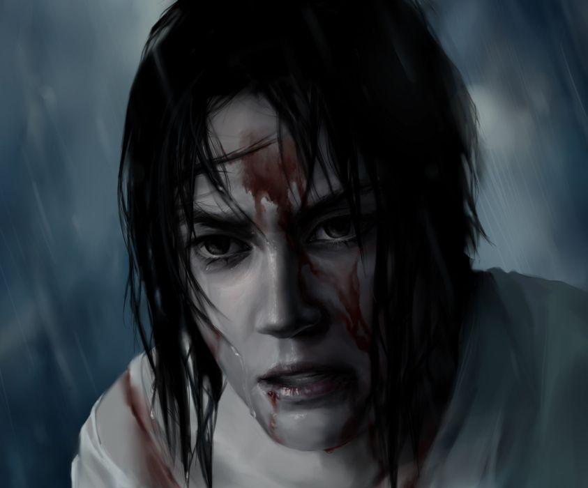 art olggah naruto sasuke uchiha opinion anger blood rain wallpaper