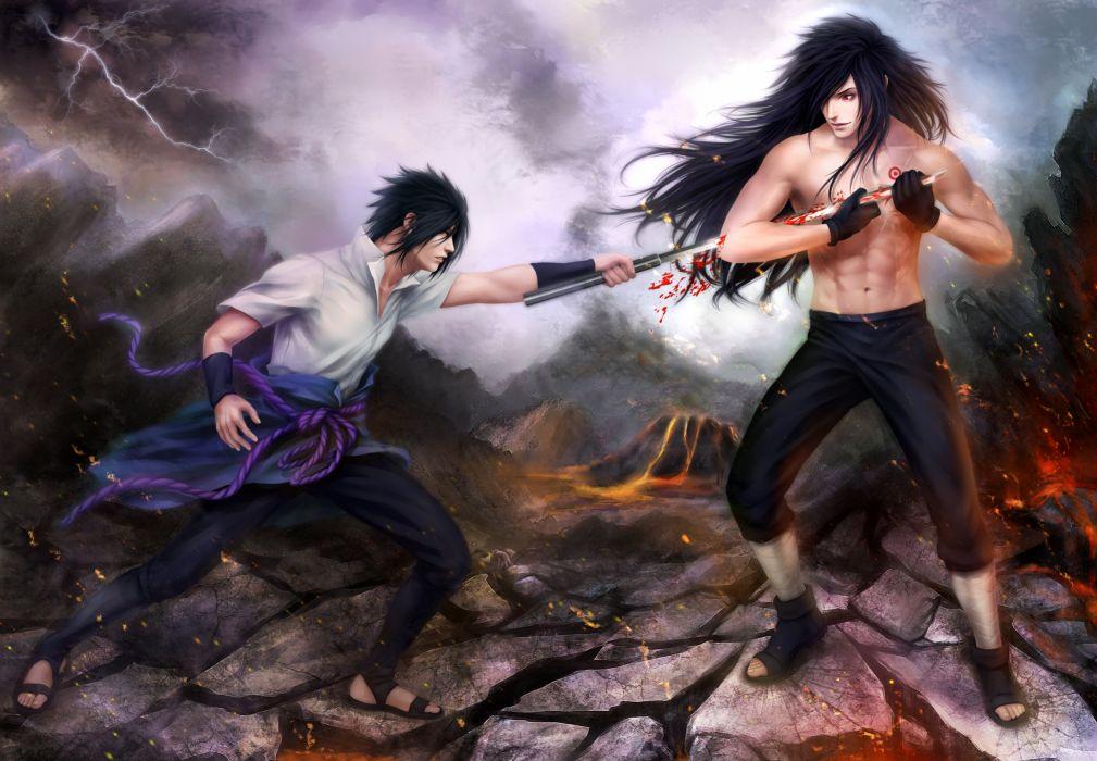 art naruto sasuke uchiha madara uchiha battle wallpaper