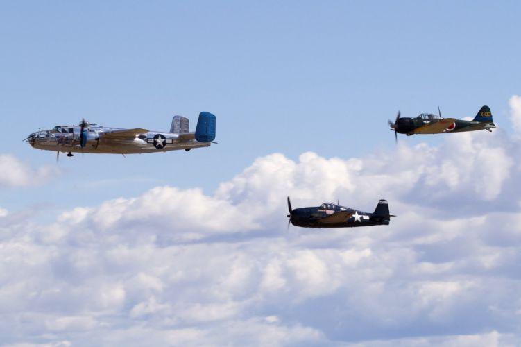 aeroplane aircraft airplanes airshow american Fighter Flight Flying North war Grumman F6F Hellcat wallpaper