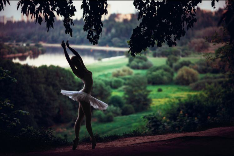 ballerina dance nature forest river wallpaper
