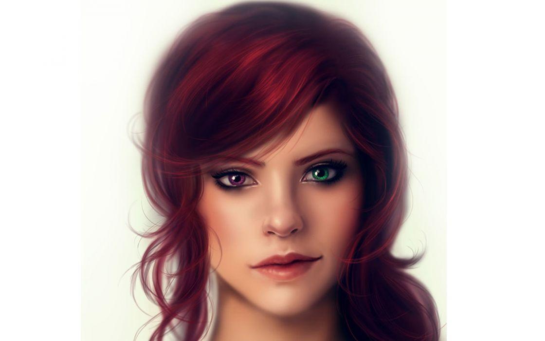 Girl portrait different eyes wallpaper