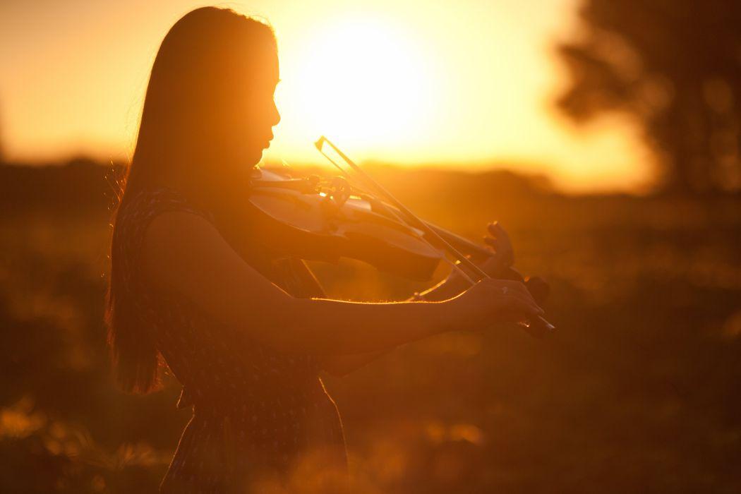 girl profile sunset violin musical instrument wallpaper