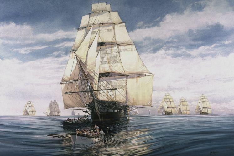 The ship sailing ship frigate sails bowsprit mainmast mizzen-mast sea water boat people sky Figure wallpaper