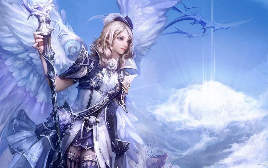 Angel angel white wings hat sash staff sky wallpaper