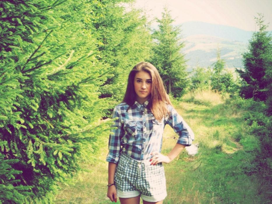 Girl forest cute wallpaper
