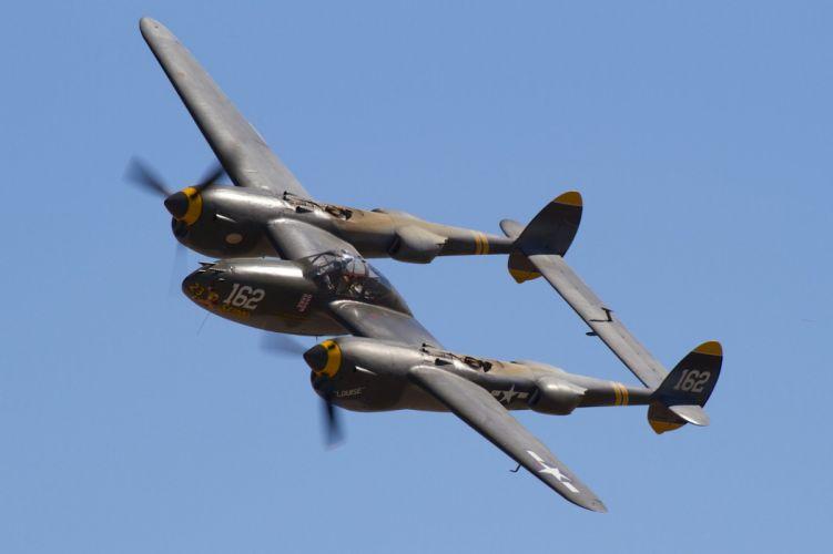 aeroplane aircraft airplanes airshow american Fighter Flight Flying war Lockheed P-38 Lighting wallpaper
