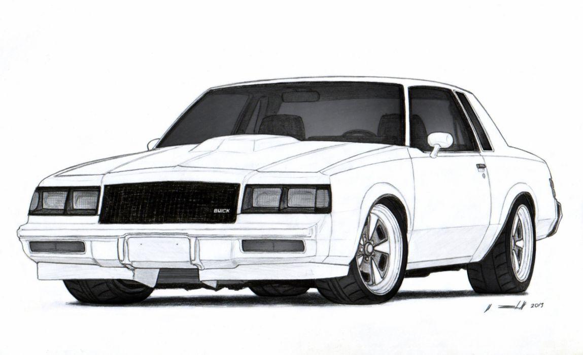 1986 Buick Grand National Drawing Wallpaper 2317x1412