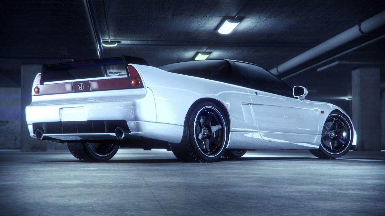 Honda NSX Back white wallpaper