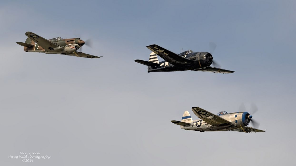 aeroplane aircraft airplanes airshow american Fighter Flight Flying Republic P-47 Thunderbolt wallpaper