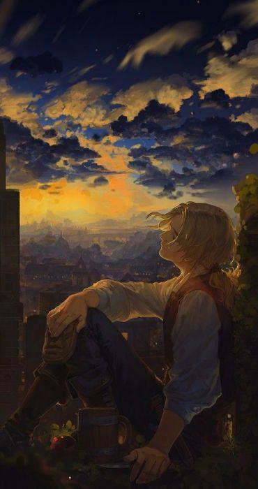 fantasy sky cloud sunset male blond wallpaper
