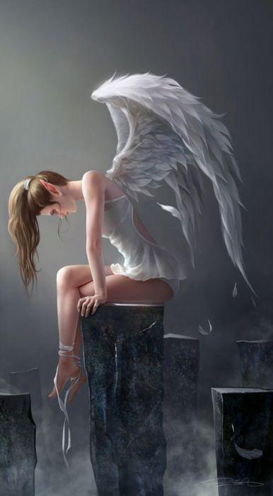angel girl wings fantasy alone light wallpaper